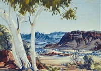 ghost gums, central australia by albert namatjira