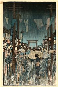 kobe, nocturnal view depicting a rain shower - women with parasols by charles bartlett