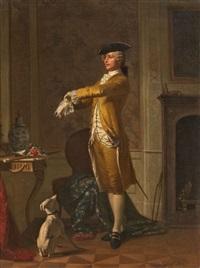 interieur mit jungem edelmann und hund by georg reimer