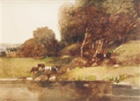cattle grazing by a river by jack cudworth