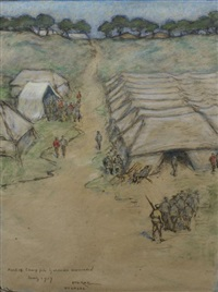 part of camp for german wounded by isobel rae