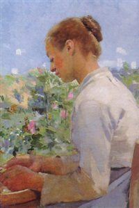 shelling peas by alfred george webster