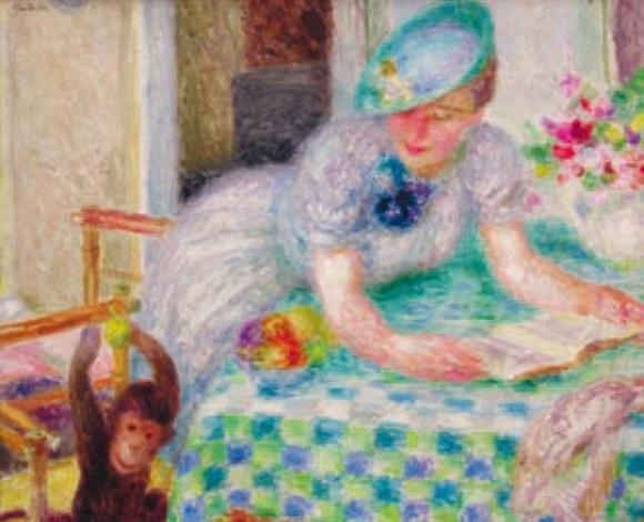femme au singe by mieszko mieczyslaw jablonski