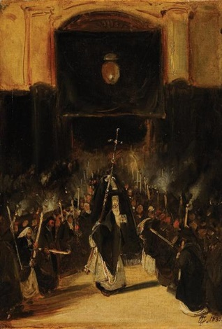 le cortège by louis gabriel eugène isabey