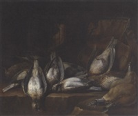 dead game and a caged bird on a ledge in a larder by philips angel