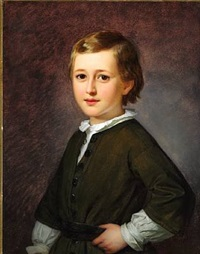 portrait of danish ballet master and choreographer august bournonville's son edmond mozart august (1846-1904) as a child wearing a white shirt and an olive jacket by edvard lehmann