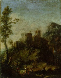 a mountain river landscape with a tower and buildings, and peasants by a bridge by giovanni (giambattista) peruzzini