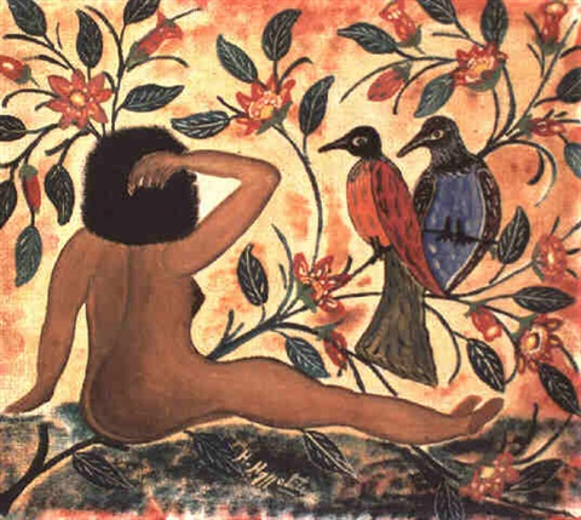 femme nue avec oiseaux by hector hyppolite