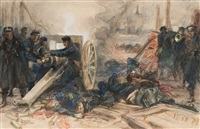 french marines with a cannon by dominique charles fouqueray