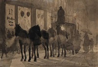 an evening in copenhagen, the horse carriage with new passengers by otto bache