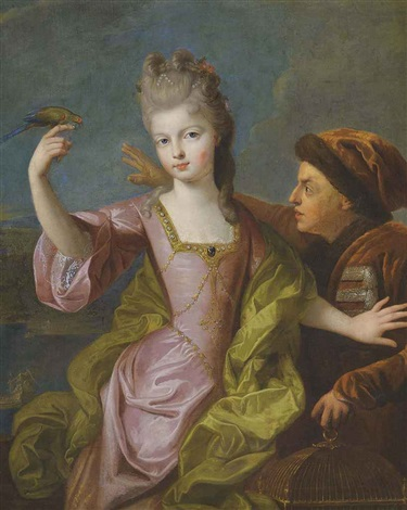 portrait of a young girl in a pink satin dress protecting her biseleur from a birdkeeper by pierre gobert