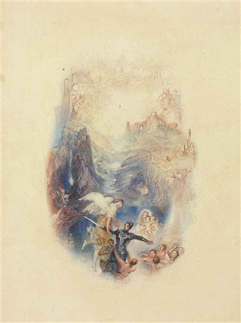 greatheart conducted through the river by joseph mallord william turner