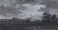 weite landschaft mit bergkette am horizont bei stürmischem wetter by richard fresenius