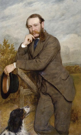 portrait of a gentleman g a fernley j p standing by a gate with his dog by james archer