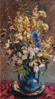 field flowers in a blue vase by arthur illies