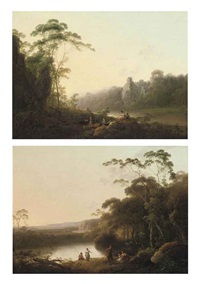 a wooded river landscape with travellers on a track at dawn (+ a wooded river landscape with an angler and other figures conversing on a bank at dusk; pair) by john rathbone