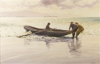 waiting for the wave (shark hunters, achill island) by roy gaston