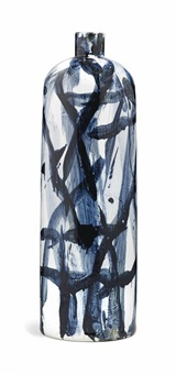 ink blue tall vase by felicity aylieff