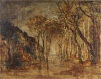 arbres au bord de la rivière by marie guillaume charles leroux