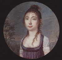 a young lady, her hair in a bun and ringlets, wearing décolleté dress with purple bodice and short white sleeves, landscape background by isaac adam