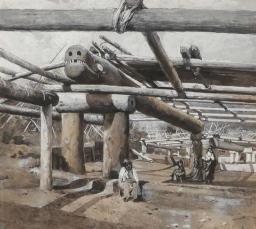 northwest pacific coast lodge under construction c 1895 by willard leroy metcalf