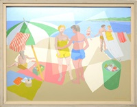 beach scene no.2 (likely staten island) by alfred mcnamara