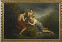 perseus with minerva discovering the sleeping medusa; sea nymphs discovering the hair of medusa turning to coral (pair) by andries cornelis lens