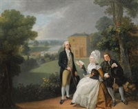 portrait of the sayer family with a view of bridge house, richmond and the shakespeare temple beyond by johann joseph zoffany