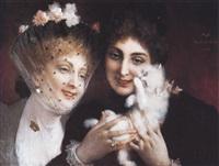 jeunes femmes au chaton by xavier alphonse monchablon