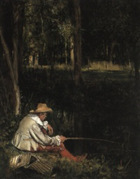 a fisherman at a forest stream by lucien alphonse gros
