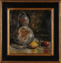 vase with lemon & apple no.28 by merton clivette