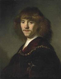 portrait of a man, half-length, in a dark red cloak and gold chain, wearing an earring by jacob adriaensz de backer