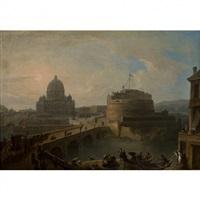vue de saint-pierre et du château saint-ange by francesco battaglioli