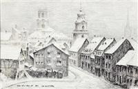 lt saarbrücken mit blick auf die ludwigs- und die friedenskirche by fritz ludwig schmidt