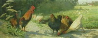 poultry in a meadow by hubert von heyden