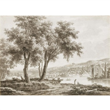 view across a landscaped park with a country house to the left and figures by a lake to the right by jacques rigaud