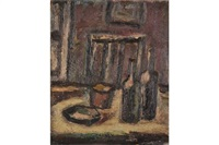 still life, wine bottles by michael canney