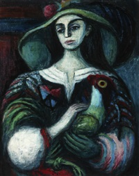women with hat and green gloves by kees andrea