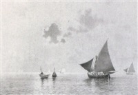 fishing vessels on the lagoon by william ashton