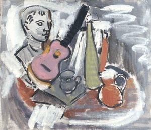 ohne titel stilleben mit rosa gitarre by joachim heuer