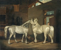 two greys in a stable by edwin (of bath) loder