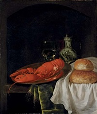 a lobster on a pewter plate, a roemer of wine, a porcelain jug and two bread rolls on a white cloth, on a partly-draped wooden table in a niche by gillis jacobz van hulsdonck