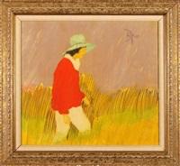woman walking in fields by lamar briggs