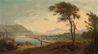 view of the valley of the lune, with the lune river, lancaster, and a figure with his dog in the foreground by george smith