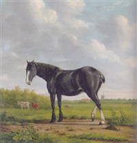 a horse standing in a landscape, cows in a meadow beyond, a mill in the distance by anthony oberman