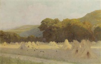 a summer evening: cornstooks in a field near downs by george marks
