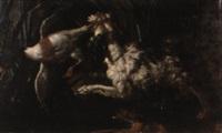 chien barbet attrapant un colvert by gabriel rouette