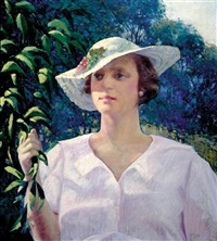 portrait of woman in garden by a. joseph abram