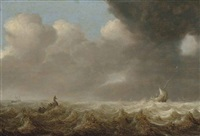 fishing boats in rough seas by arnoldus van anthonissen