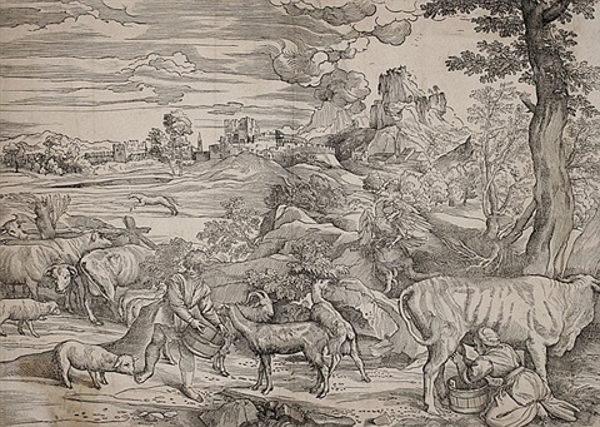 die landschaft mit der kuhmelkerin after titian by niccolo boldrini